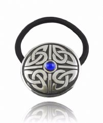 Celtic Style Hair Bobble with Blue Stone